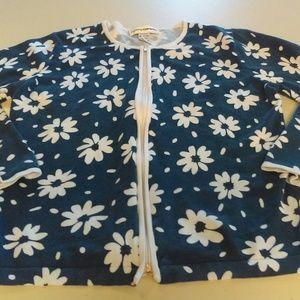 Cathy Daniels Zip-Up Hooded Sweater Flower Print